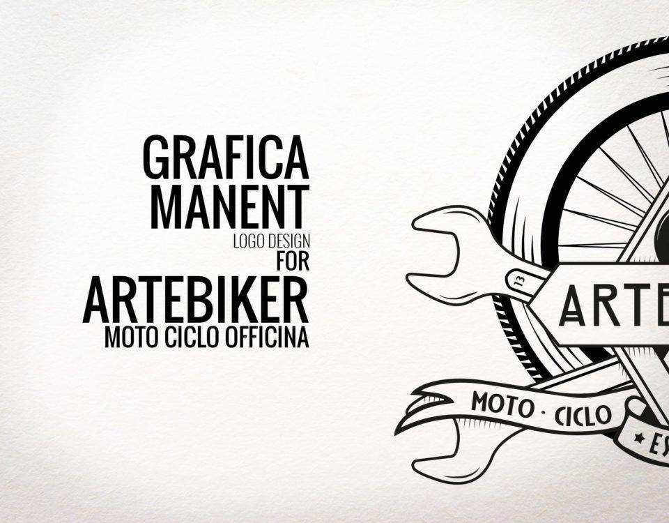 logo design per artebiker moto ciclo officina