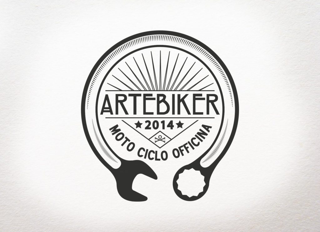 grafica ament per artebiker moto ciclo officina illustrazione